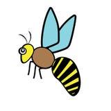 Bienen-Insekten-Geflügelnaturtierikonenkarikaturdesignzusammenfassungs-Illustrationstier Stockfoto