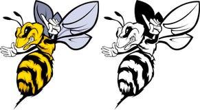 Bienen-Maskottchen-Zeichen Lizenzfreie Stockfotos
