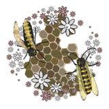 Bienen montieren Honig Mit transparentem stock abbildung