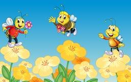 Bienen und Blumen vektor abbildung