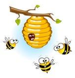 Bienen und ein Bienenstock lizenzfreie abbildung