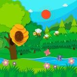 Bienenfliegen um Bienenstock stock abbildung