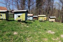 Bienenhaus mit Bienenstöcken Stockfotografie