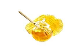Bienenhonig und -bienenwabe Lizenzfreies Stockfoto