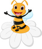 Bienenkarikatur auf Blume Lizenzfreie Stockfotografie