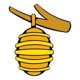 Bienenstock auf Niederlassungsikone, Ikonenkarikatur lizenzfreie abbildung