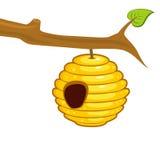 Bienenstock, der von einer Niederlassung hängt lizenzfreie abbildung