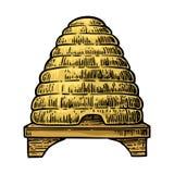 bienenstock Gravierte Illustration des Vektors Weinlese Lizenzfreies Stockbild