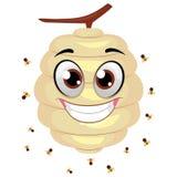 Bienenstock-Maskottchen mit Fliegen-Bienen herum lizenzfreie abbildung