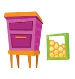Bienenstock- und Bienenwabenvektorillustration Lizenzfreie Stockfotos