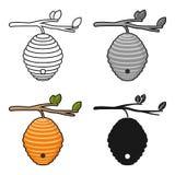 Bienenstockikone in der Karikaturart lokalisiert auf weißem Hintergrund Apairy-Symbolvorrat-Vektorillustration Stockbild