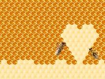 Bienenwabe geschnitten in Herzform lizenzfreie stockbilder