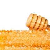 Bienenwabe mit hölzernem Honey Dipper, lokalisiert auf weißem Hintergrund Stockbild
