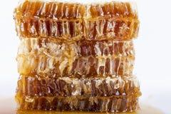 Bienenwabe mit Honig auf einem weißen Hintergrund Stockbilder