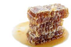 Bienenwabe mit Honig auf einem weißen Hintergrund Stockbild