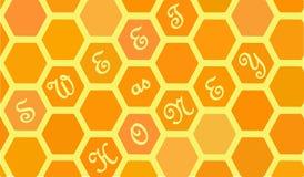 Bienenwabe mit Wortbonbon als Honig Lizenzfreie Stockfotos
