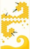 Bienenwabe und Insekten Stockfoto