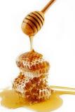 Bienenwabe und Schöpflöffel Lizenzfreie Stockfotos