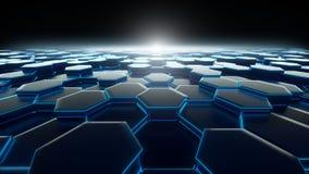 Bienenwaben-blaue Hintergrund-Technologie vektor abbildung