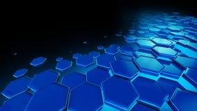Bienenwaben-blaue Hintergrund-Technologie Stockbild