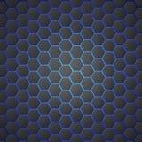 Bienenwaben extrahieren sechseckigen nahtlosen Hintergrund 3d mit blauem Stromlicht Metallische Hexagone auf blauem Hintergrund Stockbild
