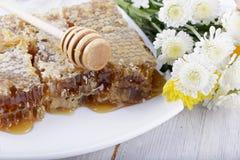 Bienenwaben und Blumen auf weißem hölzernem Hintergrund Stockfoto
