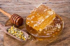 Bienenwaben und Honig löffelt und trocknete Kamillenblumen Stockbild