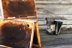 Bienenwaben und Imker bearbeiten die Herstellung des Rauches auf der Bank nahe der Wand Stockbilder