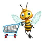 Bienenzeichentrickfilm-figur mit Laufkatze vektor abbildung