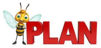 Bienenzeichentrickfilm-figur mit Planzeichen stock abbildung