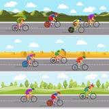 Bieżni bicyclists na rowerach Bezszwowy panoramiczny Zdjęcie Stock