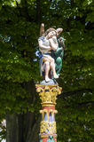 Bienne - Wooden fountain with statue Stock Image