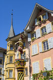 Bienne - Wooden statue and buildings Stock Photos