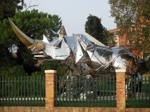 Biennial 2017 Imposing metal sculpture of a rhinoceros Giardini Venice Italy.  Stock Photo
