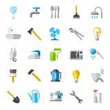 Biens d'équipement ménager, icônes de couleur, images illustration stock