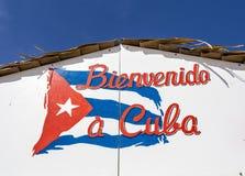 Bienvenido Куба - гостеприимсво к знаку Кубы Стоковые Фото