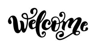 Bienvenido Palabra de las letras de la mano Muestra moderna manuscrita de la tipografía del cepillo Rebecca 36 Ilustración del ve Imagen de archivo libre de regalías