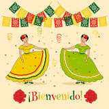 Bienvenido. Vivid poster template with illustration of mexican carnival: traditional dressed women, mexican cut flags and spanish bienvenido text which is Stock Photography
