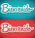 Bienvenido - Welcome spanish text Stock Images