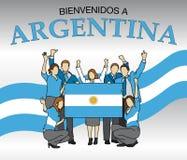 Bienvenidos en Argentina - välkomnandet till Argentina i den iklädda grupp människor för det spanska språket färgerna av Argentin vektor illustrationer