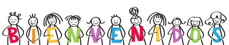 BIENVENIDOS, group of stick figures holding colorful letters, spanish kids saying welcome. Isolated on white background vector illustration