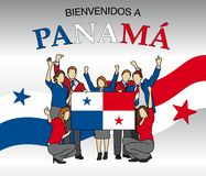 Bienvenidos a Panama -Welcome to Panama in Spanish language- Group of people dressed in the colors of the Panama flag Royalty Free Stock Images