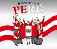Bienvenidos a Peru -Welcome to Peru in Spanish language- Group of people dressed in the colors of the Peru flag Stock Image