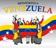 Bienvenidos a Venezuela -Welcome to Venezuela in Spanish language- Group of people dressed in the colors of the Venezuela flag Royalty Free Stock Photography
