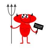 Bienvenue à l'enfer Diable rouge mignon tenant un signe et un Trident devi Photos stock