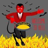 Bienvenue à l'enfer Diable tenant la poêle pour des pécheurs Photos libres de droits