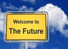 Bienvenue au futur signe photos libres de droits