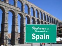 Bienvenue au signe de l'Espagne Photos stock