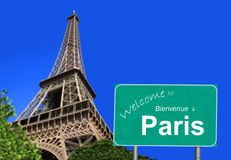Bienvenue au signe de Paris Photographie stock