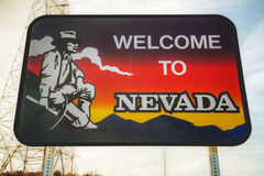 Bienvenue au signe de route du Nevada Image libre de droits